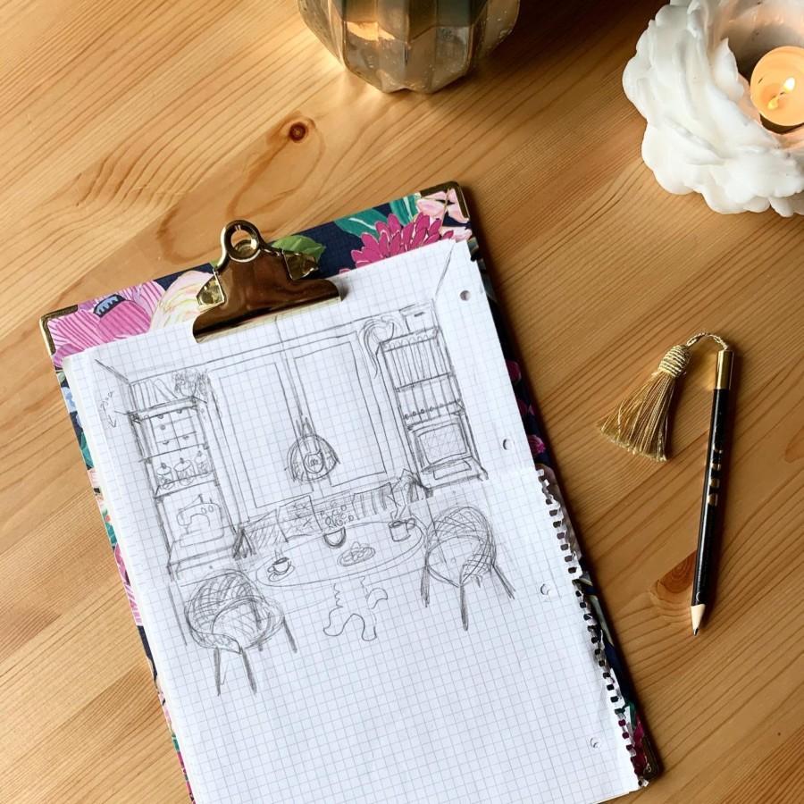 Skizze Entwurf Wohnzimmer